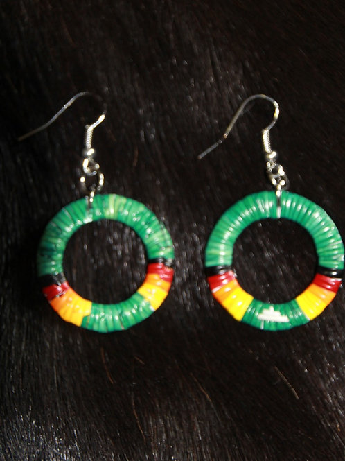 Green Circle Quill Earrings