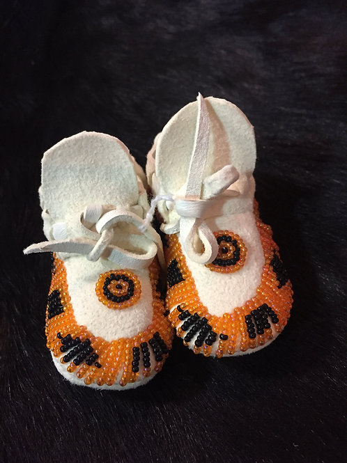 Orange and Black Beaded Baby Moccasin