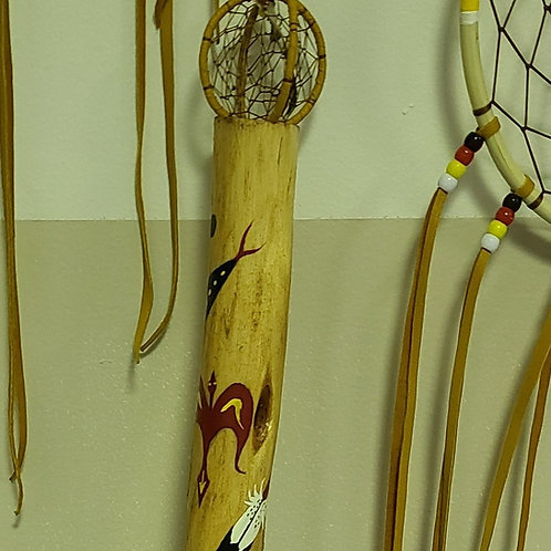 Diamond Willow Walking Stick with Dream Catcher at the top