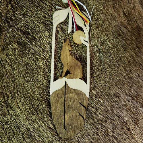 Howling at the Moon Coyote Wooden Feather Bookmark