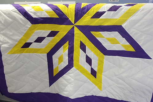 Star Quilt - Purple/Yellow Single Star
