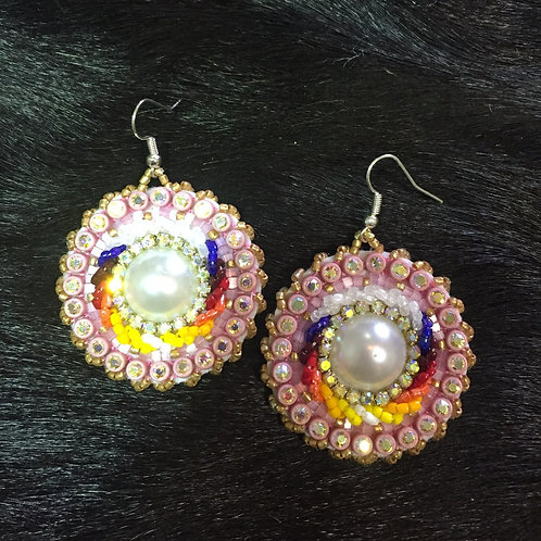 Pink and Pearl Medallion Beaded Earrings