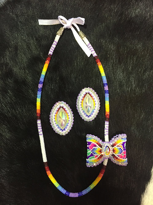 Colorful Beaded Necklace with Bow and Earring Set