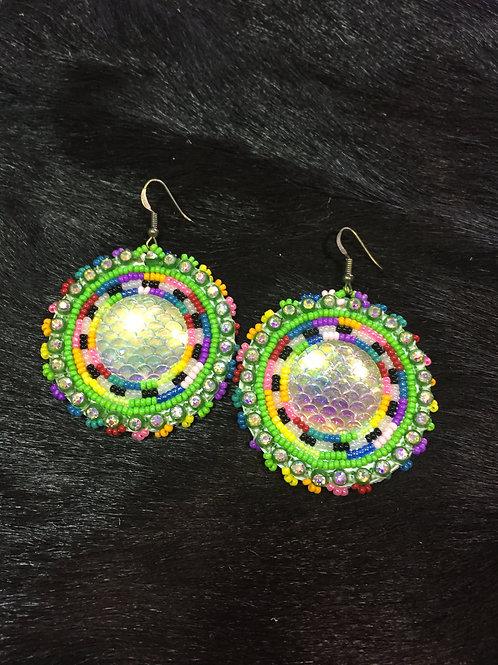 Green Medallion Beaded Earrings