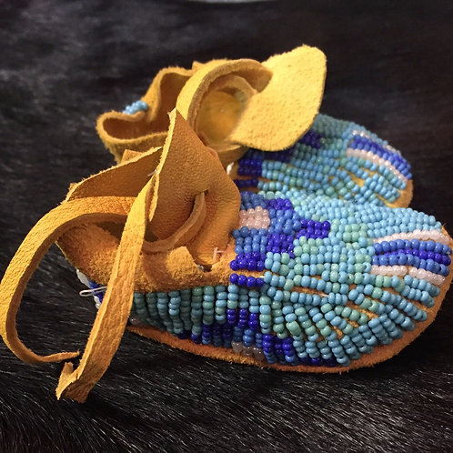 Shades of Blue Beaded Baby Moccasin