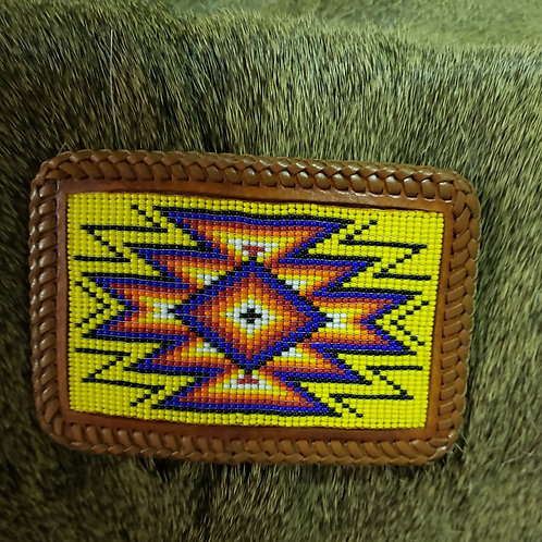 Brown Leather/ Beaded Buckle