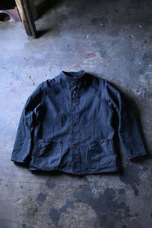 10 oz selvage denim Stand Collar Jacket Black dye