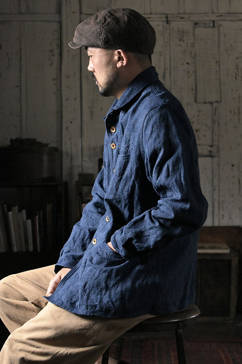 French Linen indigo dye Jacket (L) -Made to Order-
