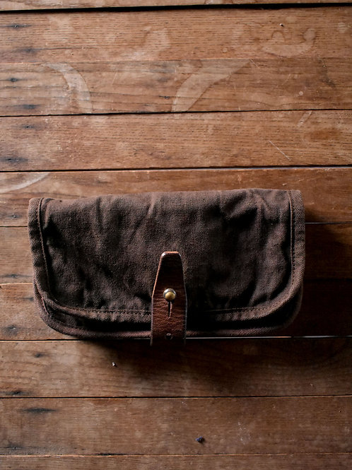 "Canvas Wallet ""201""Dark Brown dyed"