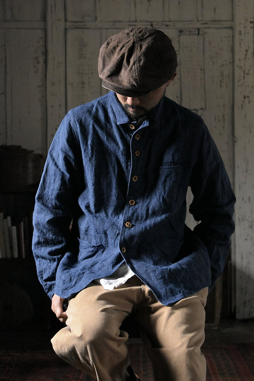 French Linen indigo dye Jacket (M) -Made to Order-