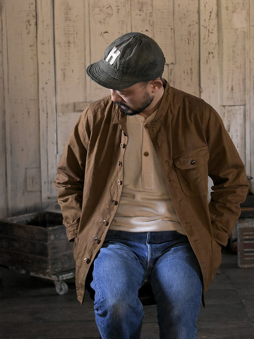 10 oz selvage denim Stand Collar Jacket Light Brown dye