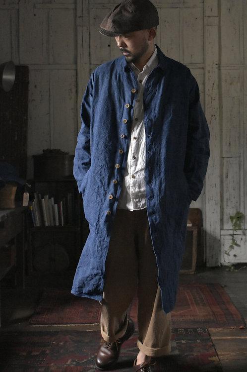 French Linen indigo dye Coat  -Made to Order-