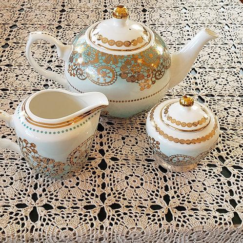 Blue/Gold Lace 3-Pc. Tea Set