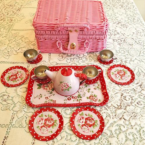 CHILDREN'S PINK TIN TEA SET