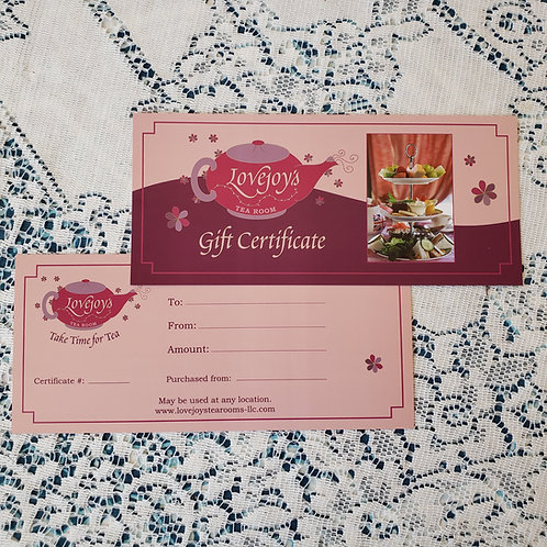"""GIFT CERTIFICATES - $25 to """"the sky's the limit!"""""""