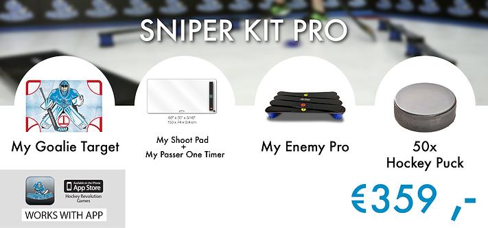 SNIPER KIT PRO - GOALIE TARGET+SHOOT PAD+PASSER ONE TIMER+ENEMY PRO+50pcs.PUCKS