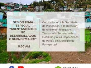"""Sesión con tema especial sobre """"Asentamientos no desarrollados o subnormales"""""""