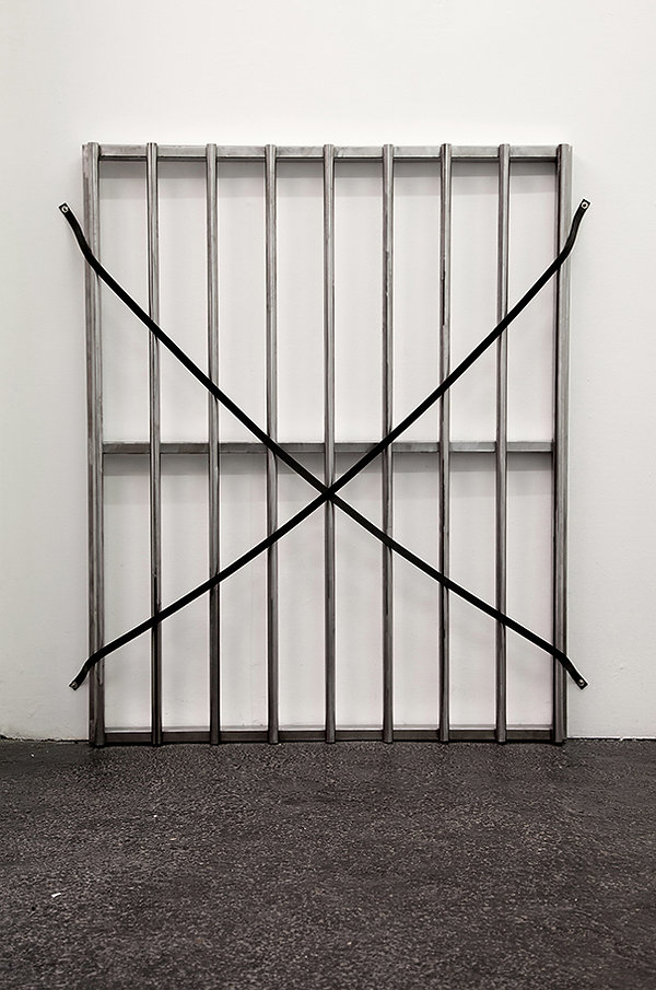 Simona Brinkmann, Docile Brutes IV, burnished steel, leather straps, metal fittings, scaled down cattle grip sculpture, contemporary art, minimalism, barrier, obstruction. Hold On! solo show at The Agency, London.