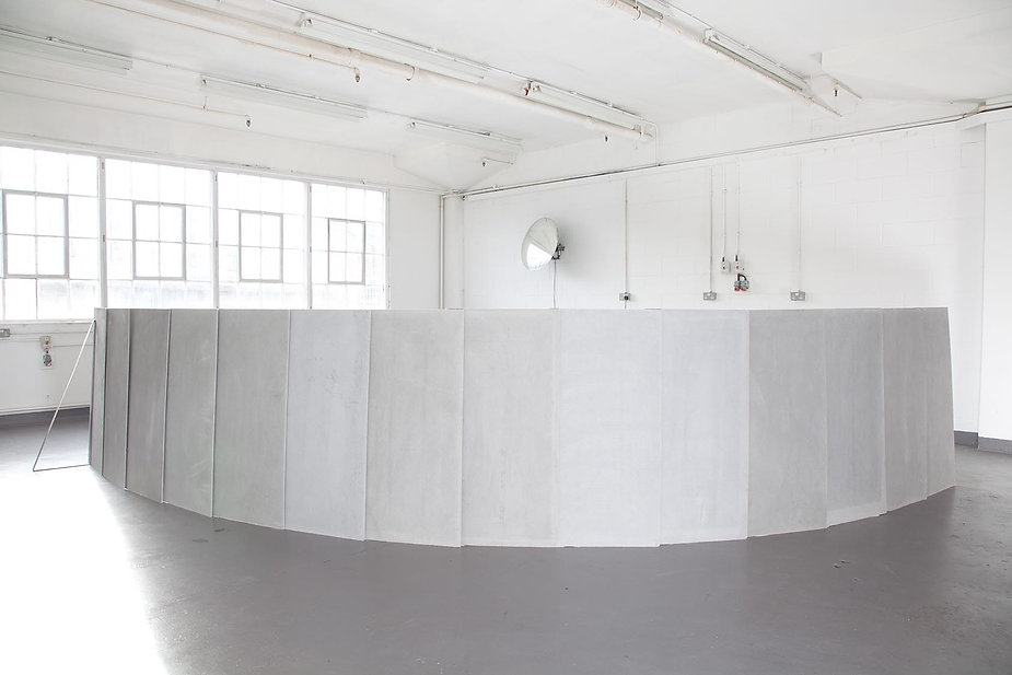 Simona Brinkmann,  Ungrammatical Anatomies II, Marmox insulation board, cement, fibreglass, steel, graphite. Barrier sculpture, installation, curve obstruction, crowd barrier, post-minimalism, contemporary art.
