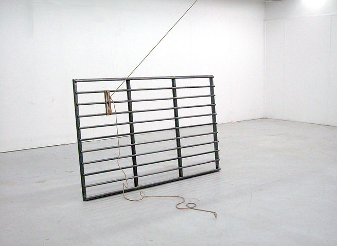 Simona Brinkmann, Docile Brutes II, steel, rope, cattle grid sculpture installation, tension, barrier obstruction, contemporary art, post-minimalism.