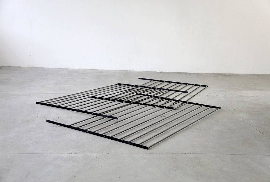 Simona Brinkmann, floor sculpture, Bridges Become Doors - Steel, Graphite. Metal floor sculpture, post-minimalism, contemporary art.