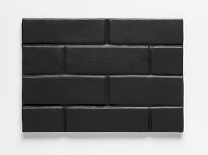 Simona Brinkmann, Canyon - foam-padded leather, board, steel, magnets. Relief Wall sculpture, soft modular sculpture, contempoary art, post-minimalism, padded brick, luxury padded cell, automotive interiors.