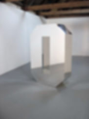 Simona Brinkmann, Life Sized, giant three dimensional mirrored zero sculpture, body height, mirrored perspex, subverted minimalism, post-minimalism, contemporary art. Reflective Nothingness.
