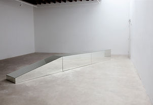 Simona Brinkmann, Safety Measures, mirrored modular crash barrier segment, mirror floor sculpture, road barrier, contemporary art, post-minimalism, car crash minimalism.