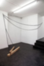 Simona Brinkmann, Underling - oak, black leather straps, metal fitttings, avant bridle harness sculpture, installation, contemporary art, post-minimalism, Hold On! Solo show at The Agency, London.