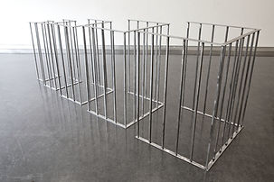 Simona Brinkmann, Function Creep - Sanded steel.  Metal sculpture, contemporary art, post-minimalism, infrastructures of control.