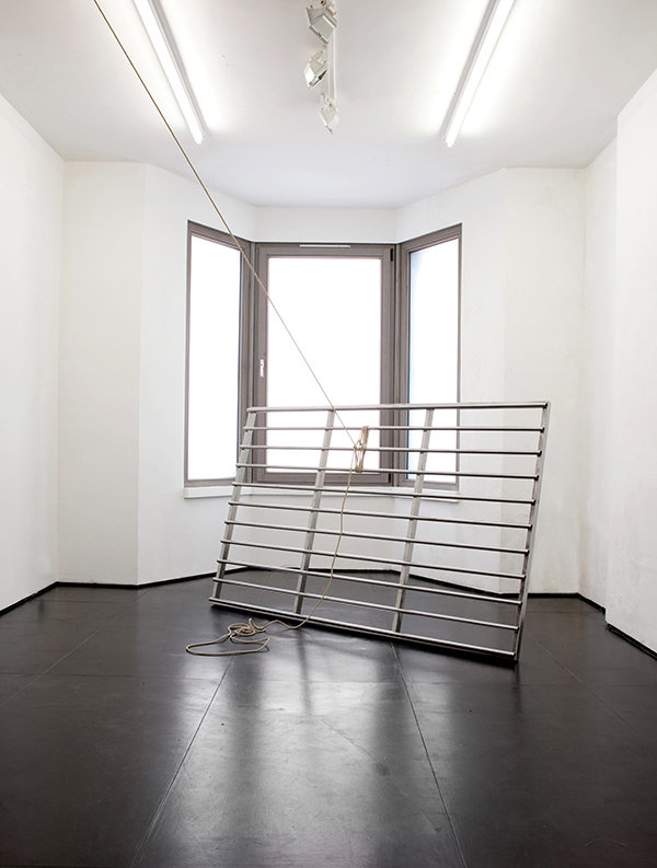 Simona Brinkmann, Docile Brutes II, polished steel, rope, cattle grid sculpture installation, tension, barrier obstruction, contemporary art, post-minimalism. Hold On! solo show at The Agency, London.