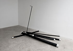 Simona Brinkmann, Gymkhana - black ponyskin and painted concrete pipes tubes, metal steel stand, plumb bob, rope, sculpture, contemporary art
