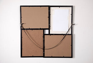 Simona Brinkmann, Greater Good, Back-to-front modular metal pictrue frame, cardboard, paper, masking tape, metal fixings, leather string. Contemporary art, post-minimalism, minimalist grid.