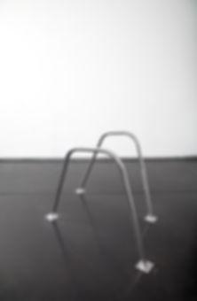 Simona Brinkmann, As If, polished steel floor sculpture, post-minimalsim, contemporary art, irregular grab rails, hand rails.