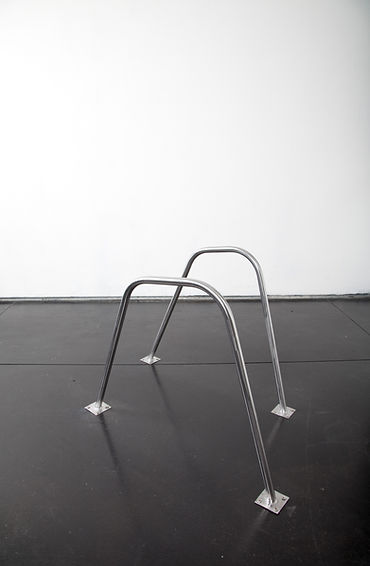 Simona Brinkmann, As If, polished steel floor sculpture, post-minimalsim, contemporary art, irregular grab rails, hand rails.