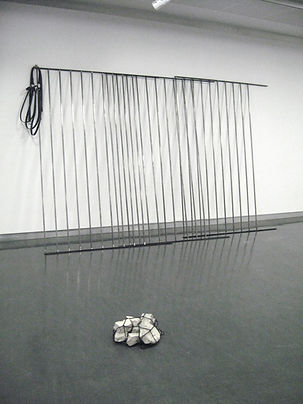 Simona Brinkmann, Doors Become Bridges - steel, graphite, leather. Panorama - concrete rubble, cargo net. Sculpture, contemporary art, post-minimalism.