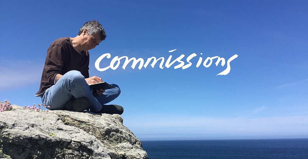 Chris Bourne artist sketching on rocks by the sea in St Ives, Cornwall with the word commissions written over it.