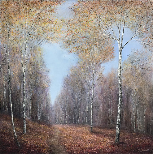 Path through Autumn forest 91x91cm
