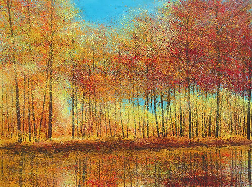 Autumn trees reflected in a lake 91x122cm