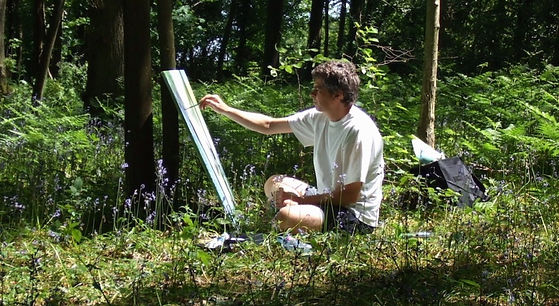 Chris Bourne artist painting bluebells in the woods