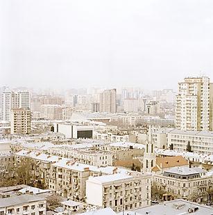 Aserbaidschans Hauptstadt Baku von oben