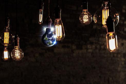 Planet earth and lightbulb for global po