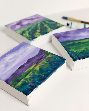 Mini landscape oil paintings by Arrin Kartel Art