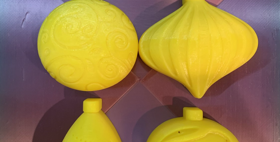 Set of Four Medium Christmas Ornaments Plastic Bath Bomb Mold