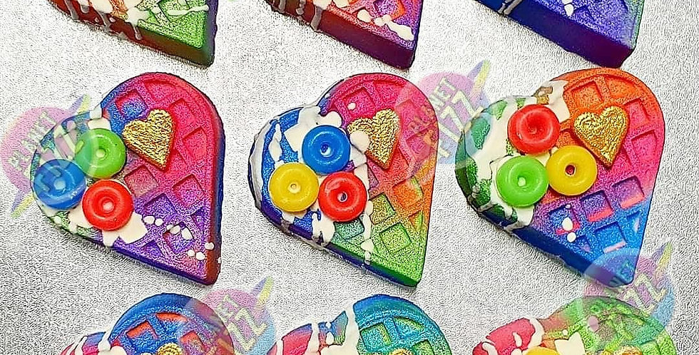 Heart Waffle Bath Bomb Plastic Mold with a pat of butta