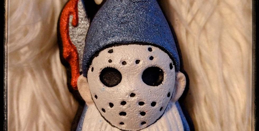 Hockey Masked Gnome Carrying Knife Plastic Bath Bomb Mold
