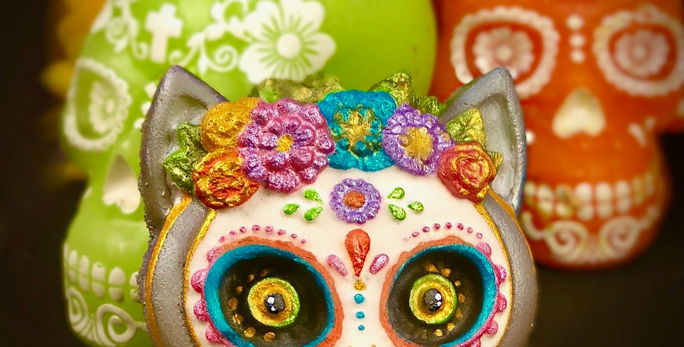 Miss Kitty Day of the Dead Family Plastic Bath Bomb Mold