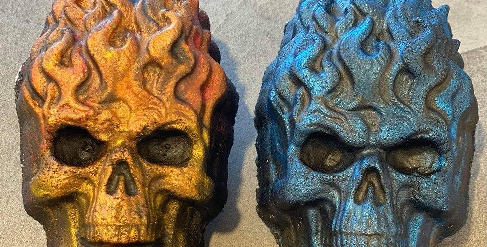 Large or Medium Flaming Skulls Plastic Bath Bomb Mold