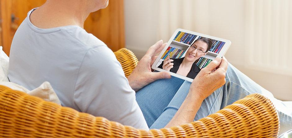 Teletherapy concept, senior woman talkin
