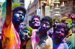 Selfie indiens fête couleurs Holi